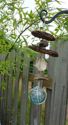 Vintage Japanese Glass Fishing Float  And Driftwood Hanging