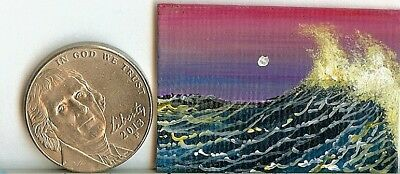Original 1x 1.5 Inch Dollhouse Art Seascape Waves Ocean Sea Spray Nautical HYMES