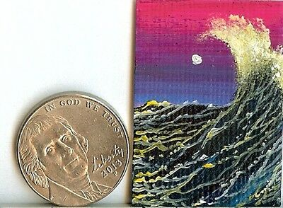 Original 1x 1.5 Inch Dollhouse Nautical Painting Waves Ocean Sea Spray HYMES