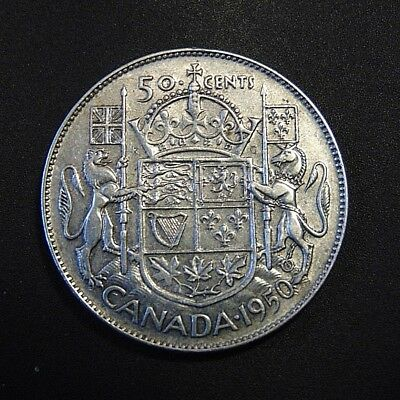 CANADA 1950 DO DESIGN in 0 silver half dollar fifty 50 cent piece Canadian