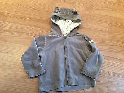 Baby Gap Organic Cotton Gray Cardigan With Ears Velvet Soft Size 18-24 Months