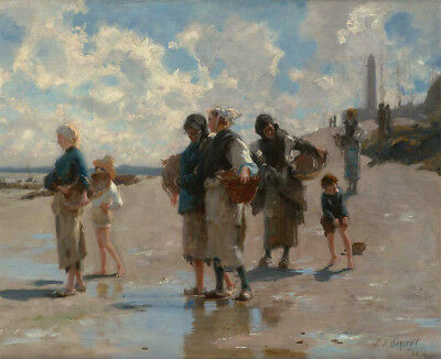 Fishing for Oysters at Cancale John Singer Sargent Canvas Art Print Small 8x10