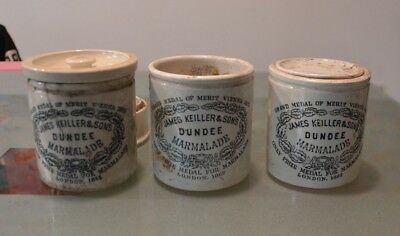 3 x 19th Century Dundee Marmalade Stoneware Crocks James Keiller Sons