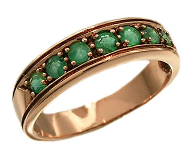 R077 Genuine 9ct 10K, 18K Gold Natural Emerald Wedding Eternity Ring Band size