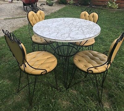 Vtg TEENA ORIGINALS Heart Shape Iron Ice Cream Parlor Soda Shop Table Chair Set