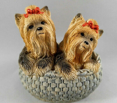 VTG 1970's Stone Critters Babies United Design 2 Yorkie Dog in Basket SCB-228