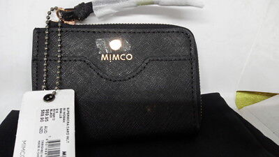 New Mimco Supermicra Card Wallet Case Black Saffiano Leather Rose Gold with Tag
