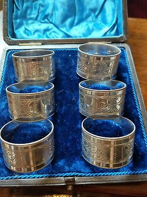 Victorian Cased Set 6 Silver Plate Napkin Rings Retailed quality set