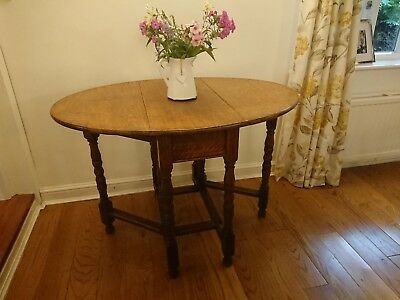 Antique Victorian / Georgian? oak gateleg wood oval country kitchen dining table