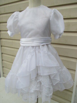 Vintage Girls Merry Girl Party Dress White Lace Pearl Neck Petti-Coat 7 VGUC