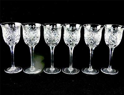"""SET OF SIX GOOD QUALITY ENGLISH OR FRENCH WINE DRINKING GLASSES 19.5cm 7 5/8"""""""