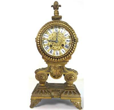 N639 Antique French Brass Or Bronze Miller And Sons Mantle Clock