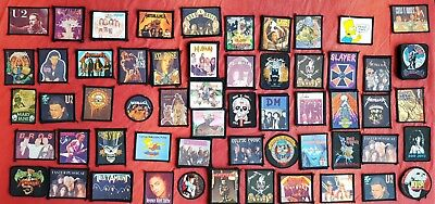 02 Lotto Toppa Patch Parche Jaket Jeans Metallica U2 Maiden Roses Jovi Harley