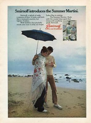 1971 Smirnoff Vodka Advertising Print Ad  Woman And Man Walking On Beach