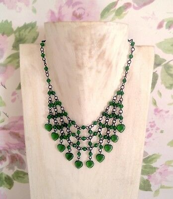 Vintage Style Green Glass Heart Beads Bib Necklace
