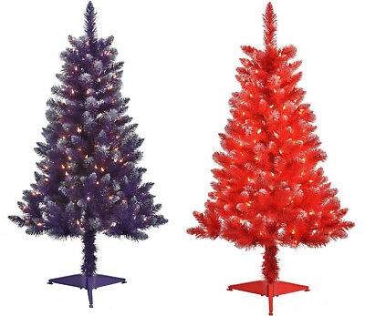 4FT Pre-Lit 150 Clear Light Artificial Christmas Tree 48inch PURPLE RED - 4FT PRE-LIT 150 Clear Light Artificial Christmas Tree 48inch PURPLE