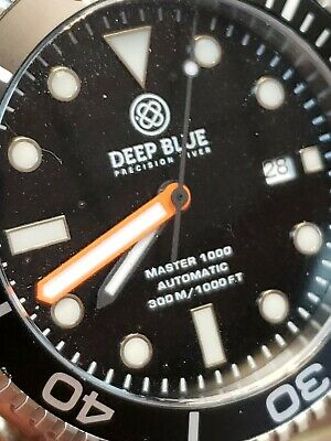 Deep Blue Master 1000/300Ft Automatic Black/Org//Min/Hand/Black/Dial
