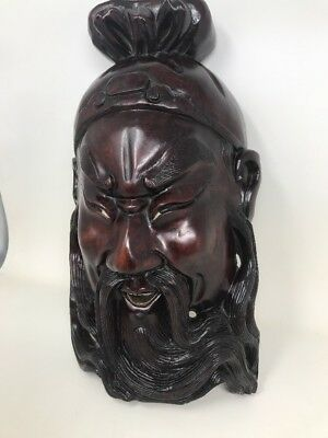"14"" Antique 19C Chinese Rosewood Hand Carved Mask Of Emperor"