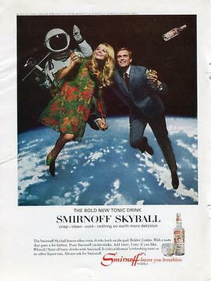 Smirnoff Vodka Vintage Print Ad Smirnoff Skyball Woman & Man In Outer Space