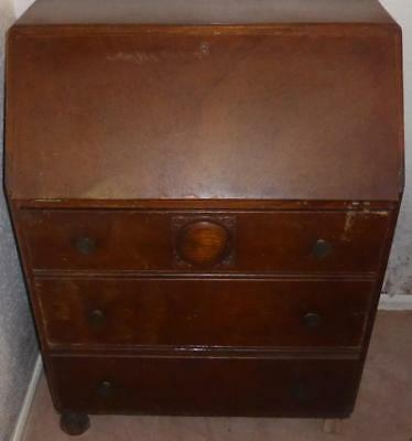Traditional handmade wooden bureau / writing desk - needs restoration