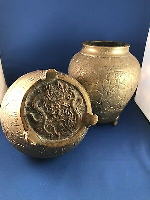 ANTIQUE SIGNED CHINESE HEAVY BRONZE PLANTER POT VASE Late 1800's