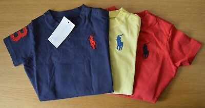 RALPH LAUREN Baby Boy Tshirt top Big Pony logo 3 to 18 Months BLUE RED or YELLOW