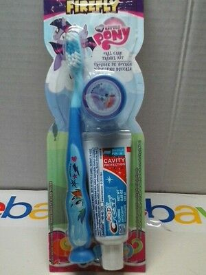 Firefly Children My Little Pony Toothbrush Travel Kit  Toothpaste Cap Blue Party