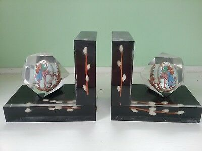 Ukrainian Vintage Bookends with 2 hand painted Pysankas w dancers & pussywillows