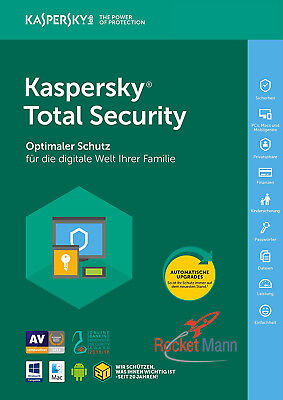 Kaspersky Total Security 2018 5PC / Gerät 1Jahr Vollversion Lizenz Key Schlüssel