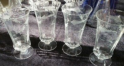 4 Vintage Etched & Paneled Tall & Graceful Thin Crystal Glasses