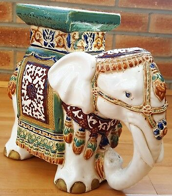 LARGE antique / vintage ceramic elephant - with ornament / candle stand