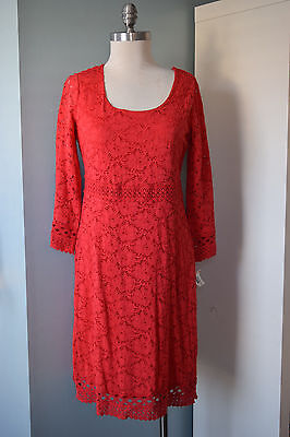 NEW Alfani Lace Overlay Coral Orange Shift Dress S Spring Career Cocktail Small