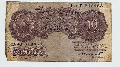 GREAT BRITAIN 10 Shillings Note Paper Money Banknote KP 366 1940