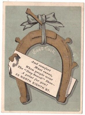 Day Sewed Shoe Mfg Co Horseshoe VTC Victorian Trade Card Philly g