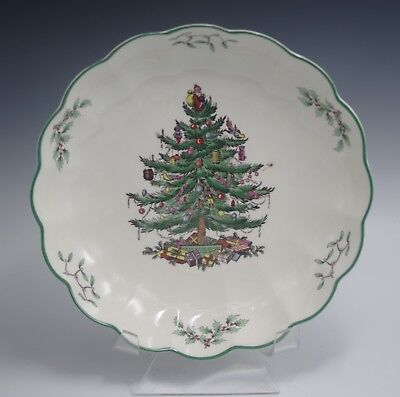 """Spode Made In England  S3324 Christmas Tree 8"""" Round Fluted Dish Mint In Box"""