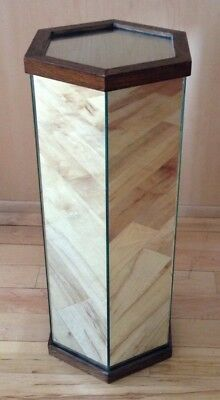 Mid-Century Hollywood Umbrella/Plant Stand Pedestal Mirrored Hexagon