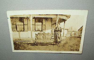 Old Antique Vtg Ca 1912 Black Woman With Couch Real Photo Post Card RPPC PC