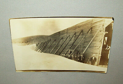 Old Antique Vtg 1910s Huge Snow Drift Reinforced Wall Real Photo Post Card RPPC