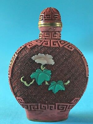 Lackarbeit Rotlack Snuff Bottle Qianlong Mark? QING Dinasty? signiert China~1900