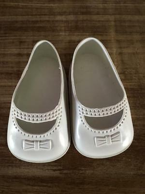 Vintage Doll Bow Shoes -White  - As New -  Great Price - Buy Now