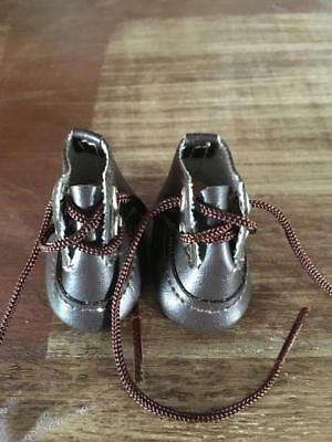 VINTAGE DOLL Brown Lace up Doll SHOES   - AS NEW -  GREAT PRICE - BUY NOW