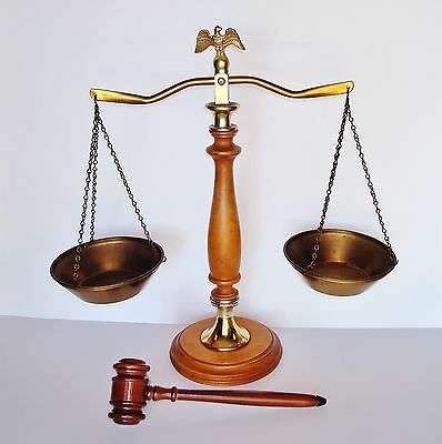 Justice Symbol - Antique Vintage Brass Balance Scale w/ an Eagle Finial & Gavel