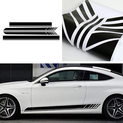 Racing Sport Stripe Car Body Side/Roof Vinyl Double Line Graphic Decal Sticker