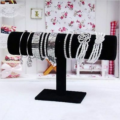 Jewelry Bracelet Black Velvet Stand Holder T-Bar Necklace Display Organizer Rack