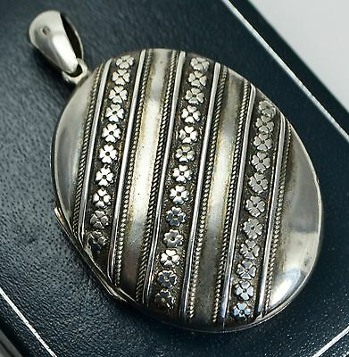 1880 Antique Large STERLING SILVER Ornate Linear Flowers Picture LOCKET Pendant