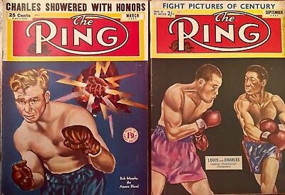 2 x 'THE  RING'  BOXING MAGAZINES 1951  :BOB MURPHY /JOE  LOUIS /CHARLES  COVERS
