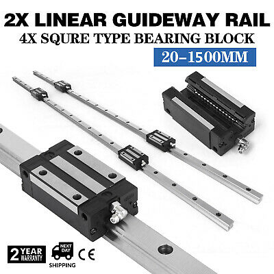 HGH20-1500mm 2x Linear Rail Set 4x Bearing Block 20mm Unique smooth sliding