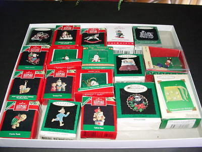 Lot of 18 - MINIATURE CHRISTMAS ORNAMENTS - 16 are Hallmark - Enesco - Russ