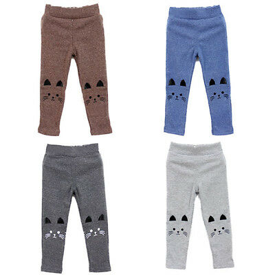 Baby Girls Autumn Winter Warm Leggings Kid Cat Print Soft Long Slim Pants 3-4 UK