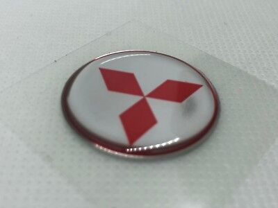 2 pcs. Mitsubishi logo badge sticker. 30mm. Domed 3D Stickers/Decals.